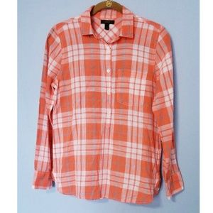 J. Crew Oversized Gauzy Plaid Top Sz 0